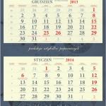 wykrojnik na kalendarz trójdzielny
